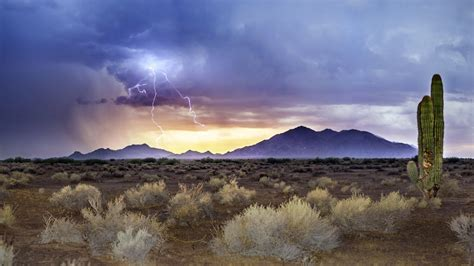 arizona monsoon sunset lightning sandstorm hd wallpaper