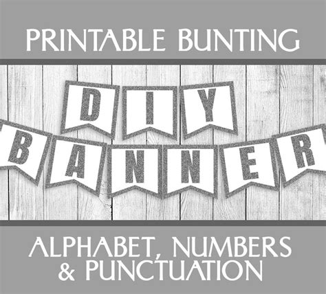 Set Excel Kid By Z Shop silver glitter printable bunting alphabet set banner diy