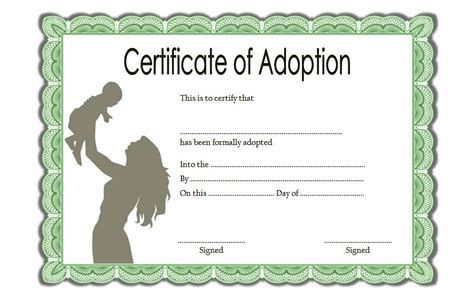 blank adoption certificate template adoption certificate template 1 the best template collection