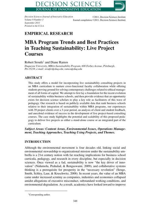 Mba User Research Course Syllabus by Pdf Mba Program Trends And Best Practices In Teaching