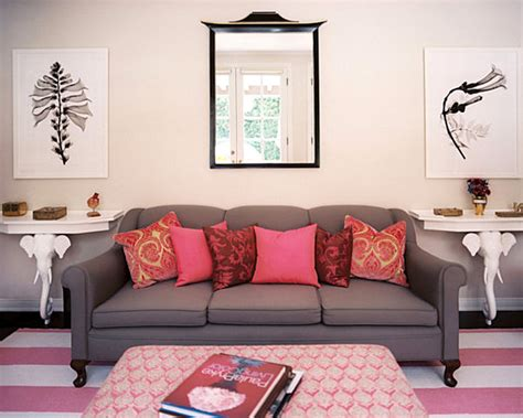 pink and grey sofa how to decorate a small living room