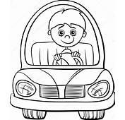 Boy In Car Cartoon Coloring Page — Stock Vector