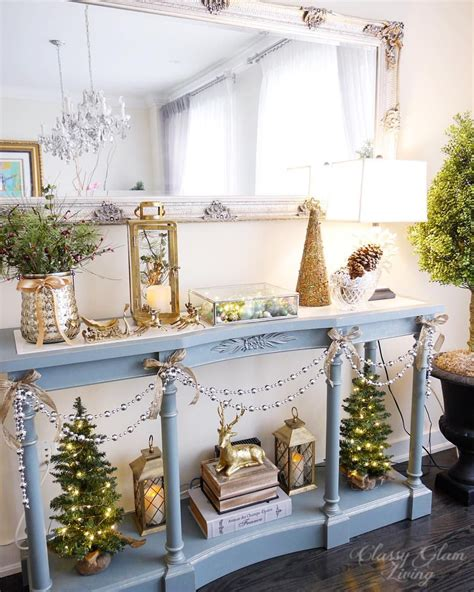 console table christmas styling dining room entry