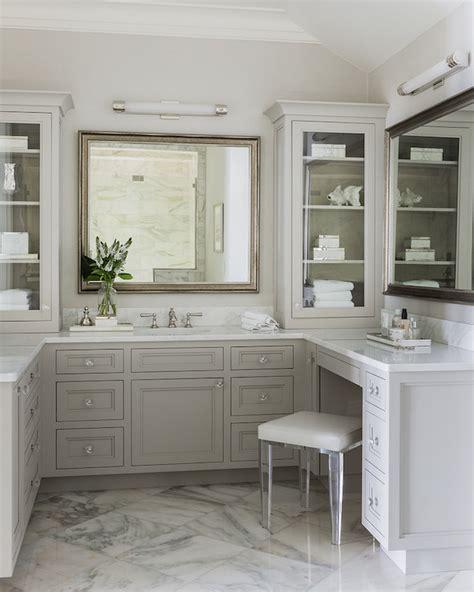 Lucite vanity stool transitional bathroom