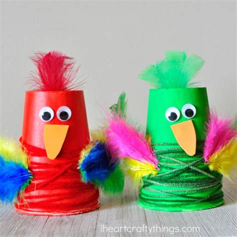 How To Make Parrot With Craft Paper - colorful paper cup parrot craft i crafty things