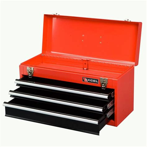 excel portable steel tool box 21in w x 8 6in d x