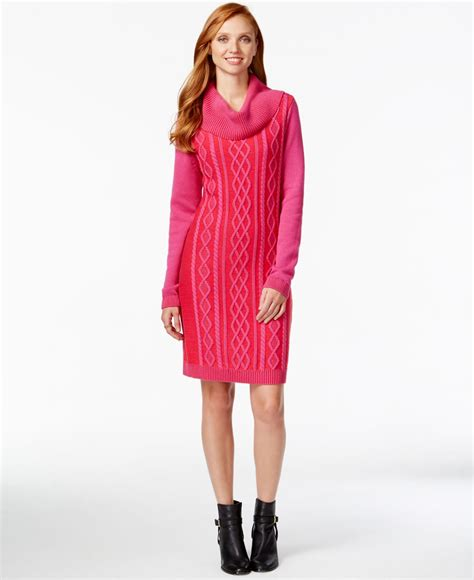 cable knit sweater dresses hilfiger cowl neck cable knit sweater dress in pink
