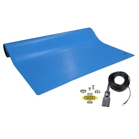 Mat Kits by Esd Systems 10922 Dissipative Rubber Blue Mat With Kit