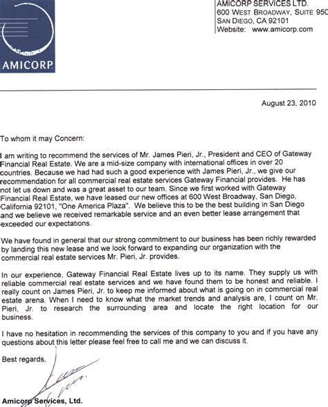 15 company recommendation letter us31 kokomo