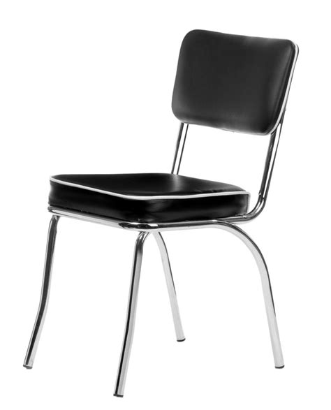 chrome retro dining chair with black vinyl cushioned seat