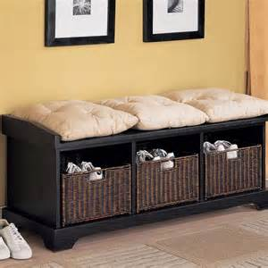bench with storage baskets 15 great entryway bench ideas for the home