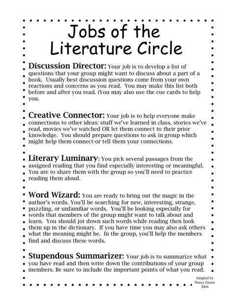 theme literature circle 187 literature circle handouts not my work 2nd 6th grade
