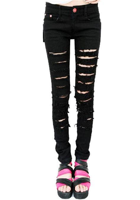 ripped black jeans womens bod jeans black cut out ripped jeans