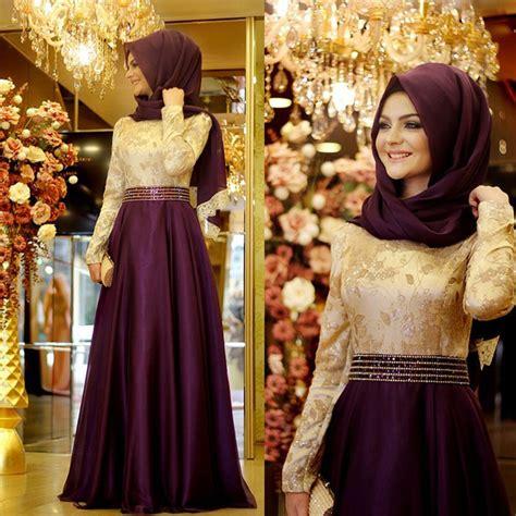 Prom Dresses Country Style - aliexpress com buy long sleeve muslim prom dress bow purple lace dubai moroccan kaftan hijab