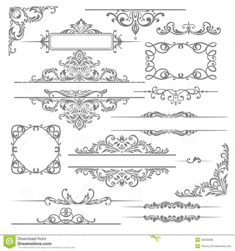 Page Design Elements Vector | calligraphic design elements and page decorations london