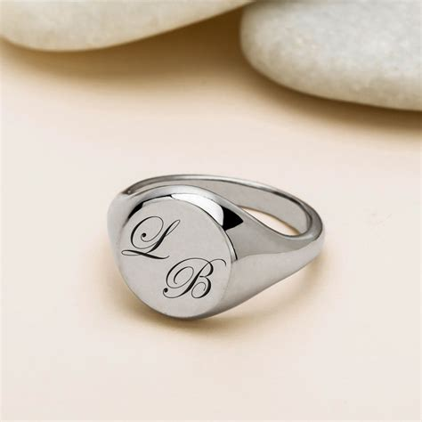 greed monogrammed engraved silver signet ring