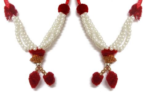 set of 2 white beaded small garland for deity length 8