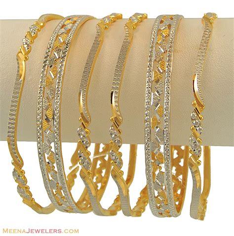 Set Twotone 22k gold 2 tone bangles set ba2t10994 22k designer gold bangles set set of 6 beautifully