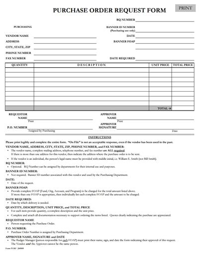 purchase order request form template purchase order request form template free edit