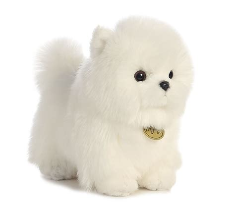 pomeranian stuff miyoni stuffed plush pomeranian pompom animal puppy white ebay