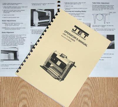Jet Asian Jwp 12 Wood Planer Operator S Amp Parts Manual