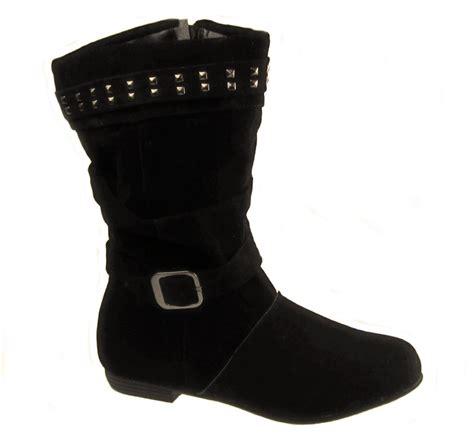 faux suede inside zip flat slouch boots black