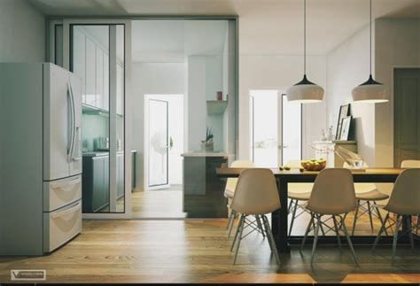 Refrigerator In Dining Room apartment with artistic flair visualized