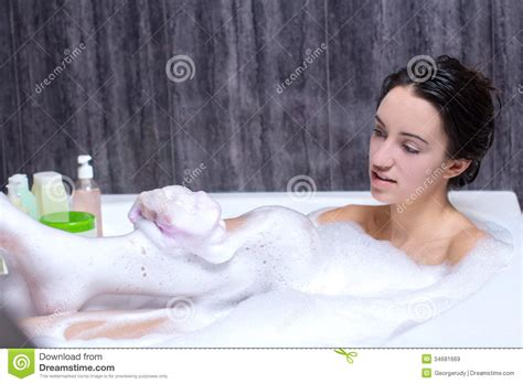one girl one bathtub woman takes bath royalty free stock images image 34681669