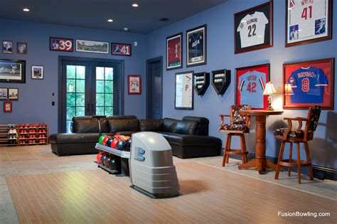 residential bowling alley lanes for philadelphia phillies baseball player s home modern home theater