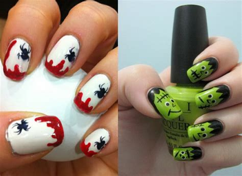 Easy Nail Art Halloween | 50 simple easy spooky scary halloween nail art designs