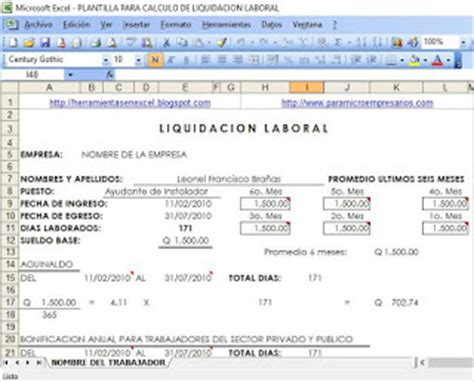 calcular la liquidacion 2016 de sueldos calculo de liquidaci 243 n y prestaciones laborales en excel