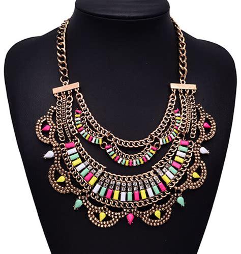 Perhiasan Fashion Wanita Kalung Choker Liontin Manik merek mewah besar multi lapisan kalung liontin desain