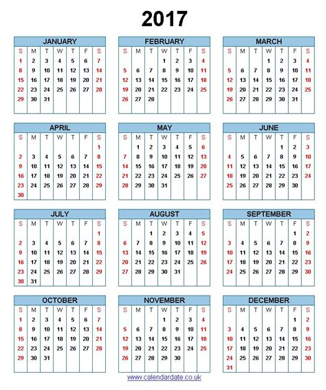 10 year calendar template 2017 calendar uk yearly calendar template