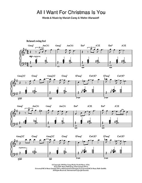 testo carey carey all i want for is you piano sheets