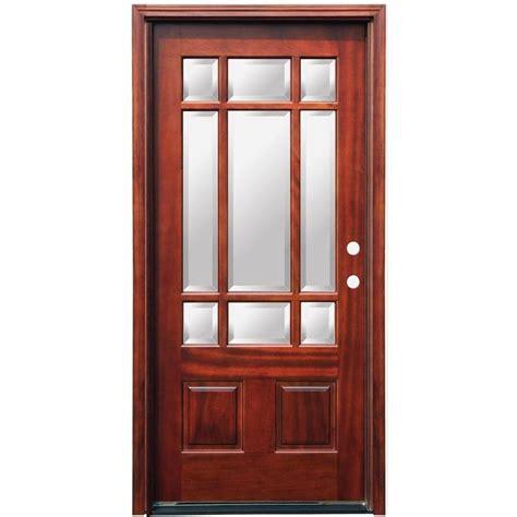 Craftsman 9 Lite Stained Mahogany Wood Entry Door 9 Light Exterior Door
