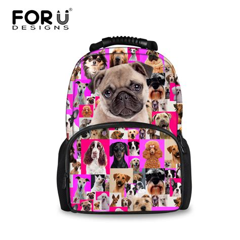 puppy backpack for school preppy style children animal bagpack pug printing school backpacks for