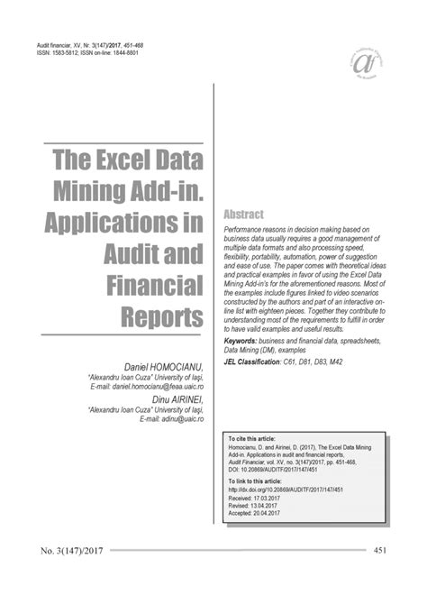 Application Of Data Mining In Finance the excel data mining add in pdf available