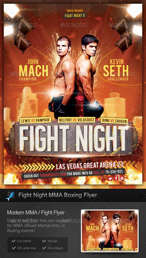 Fight Night Mma Boxing Flyer Sports Download Best Gfx Download Mma Flyer Template