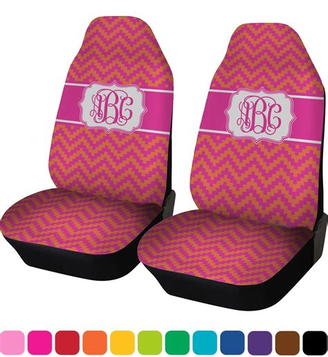 pink car seat cover pink orange chevron car seat covers set of two