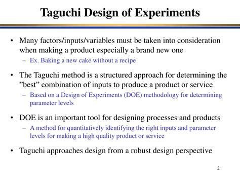 design of experiment using taguchi approach ppt robust design the taguchi philosophy powerpoint