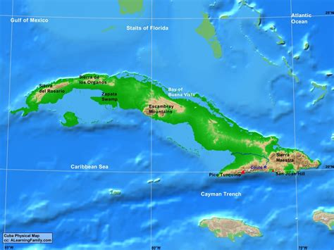 physical map of cuba cuba physical map a learning family