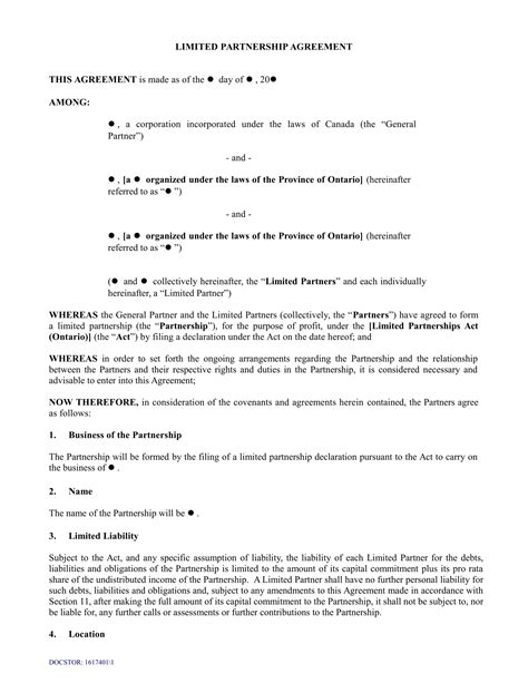 4 Limited Partnership Agreement Forms Word Pdf Llp Partnership Agreement Template
