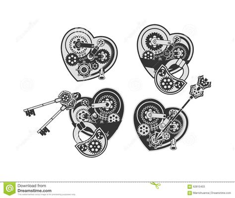 Imagenes De Corazones Mecanicos | sistema de corazones mec 225 nicos ilustraci 243 n del vector