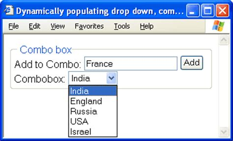 html tutorial listbox dynamic combobox listbox drop down using javascript