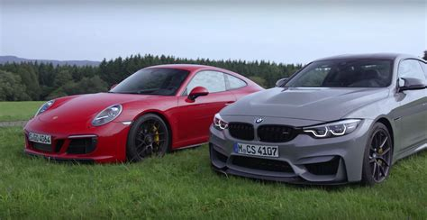 porsche vs bmw 2018 bmw m4 cs vs porsche 911 gts is a nurburgring