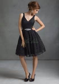 Ml black lace knee length zipper up a line bridesmaid dresses wedding