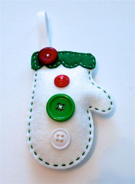 diy button mitten felt ornament kit  polkadotcreek