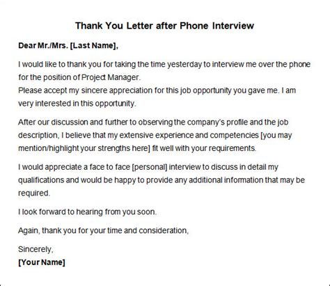 Follow Up Thank You Note After Phone Thank You Letter After 10 Free For Word Pdf