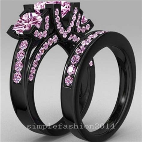 silver black gold wedding rings princess cut pink sapphire black gold filled 925 silver