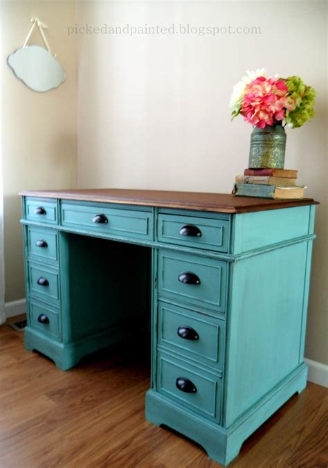 Helen Nichole Designs Custom Desk In Winter Surf Desk Painted